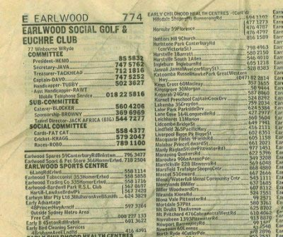 Sydney White Pages telephone directory entry circa 1990